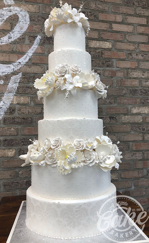 6 Tiered Cake Fondant Wedding Cake With Elegant Flower Designs A