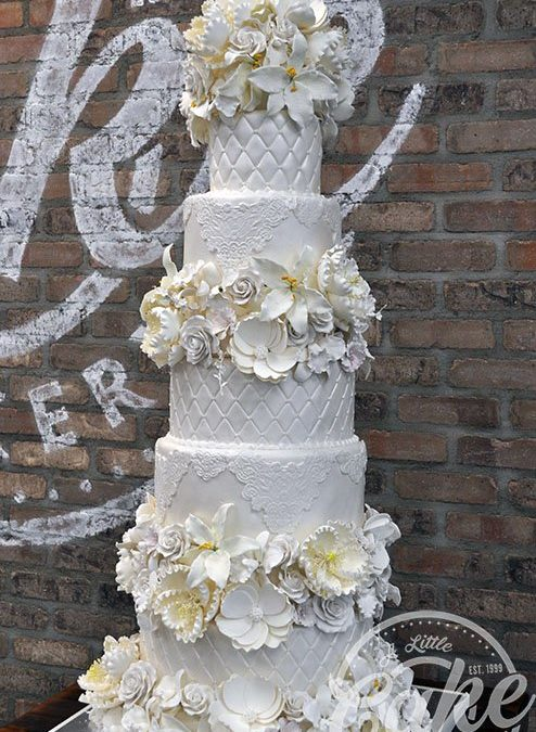 8 Tier Cake Fondant Wedding Cake With Elegant Floral Design
