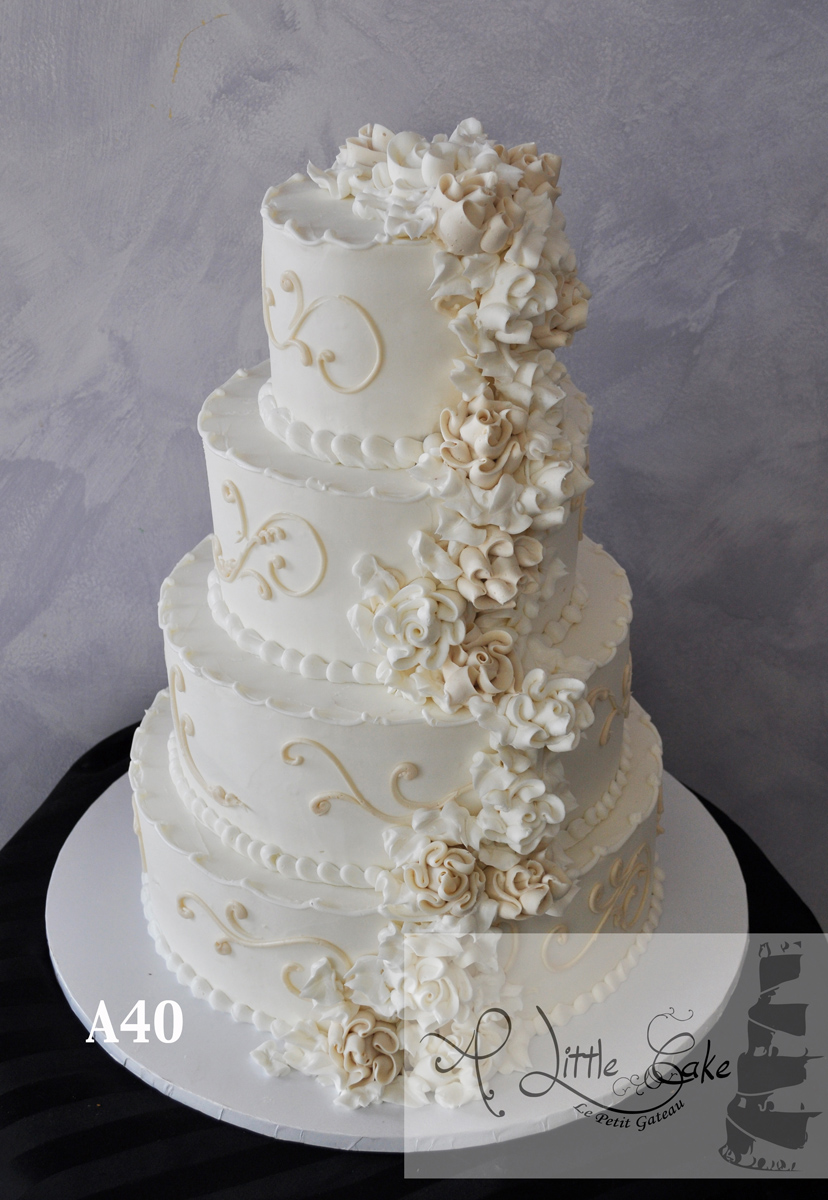 A40 - Elegant Gold And White Floral Buttercream Wedding Cake