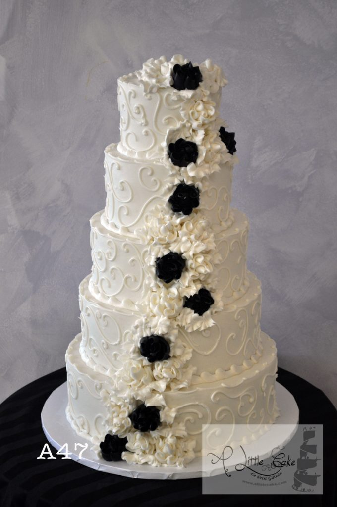 A47 Elegant Buttercream Wedding Cake With Black And