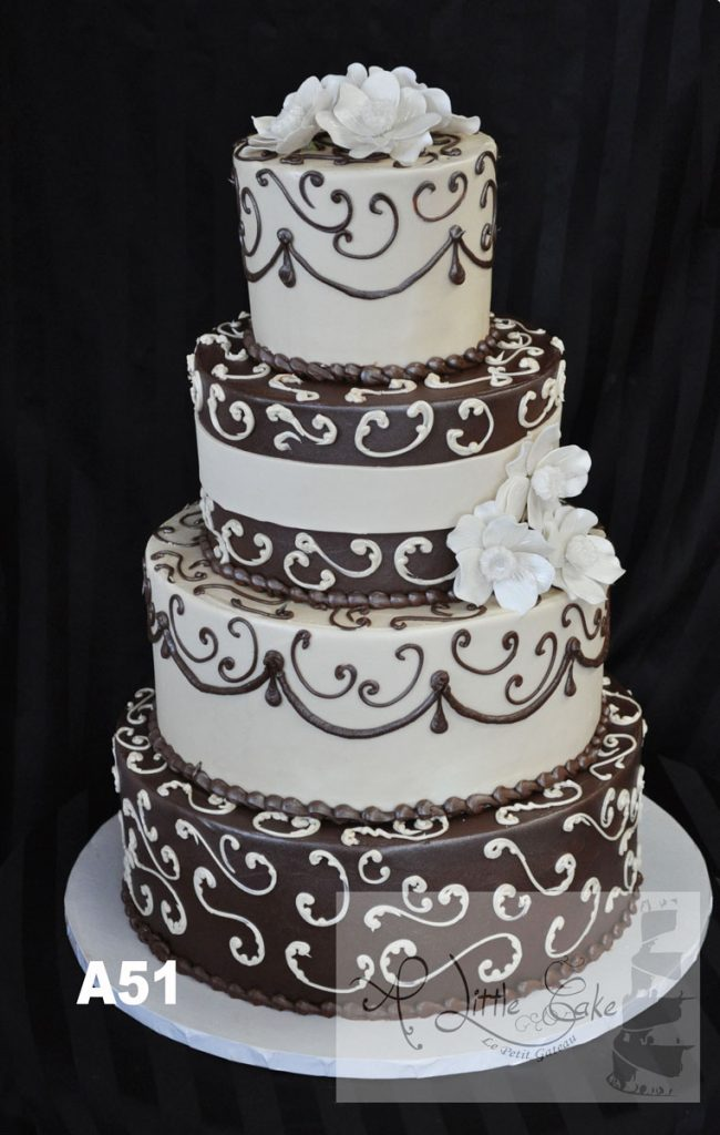 A51 Brown And White Buttercream Wedding Cake With