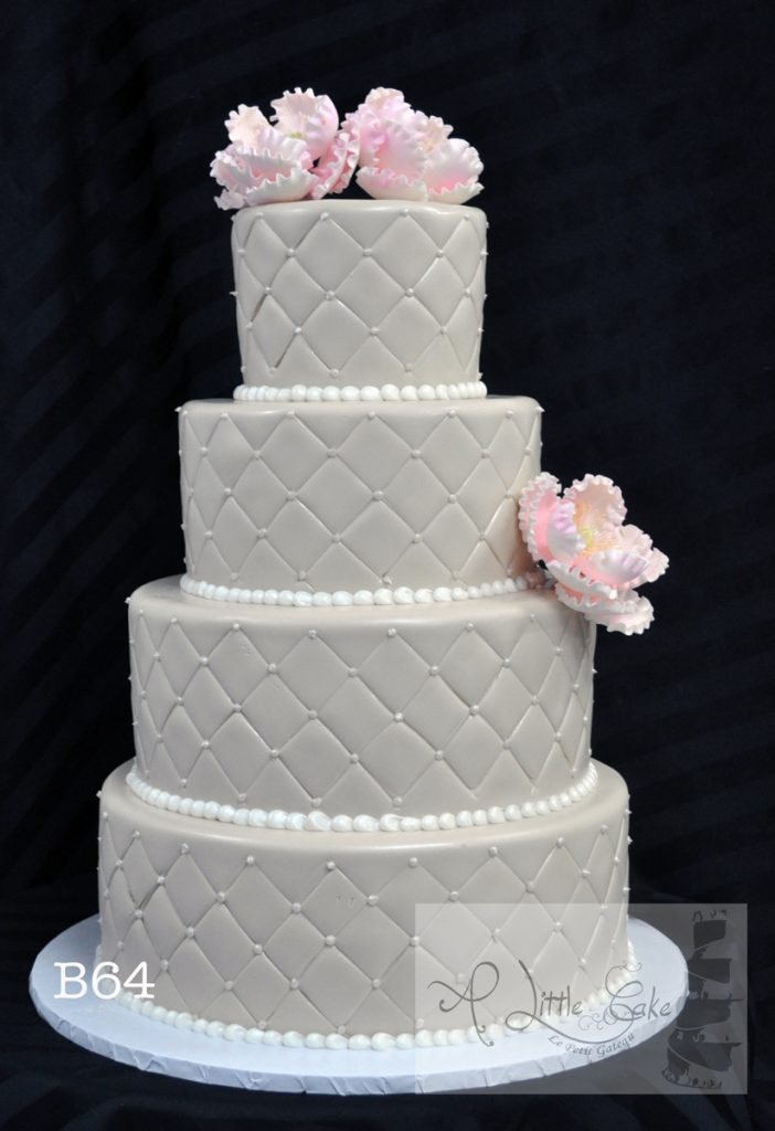 B64 Off White Fondant Wedding Cake With Pink Flowers And