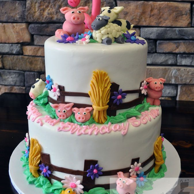 Farm Animal 2nd Birthday Cake