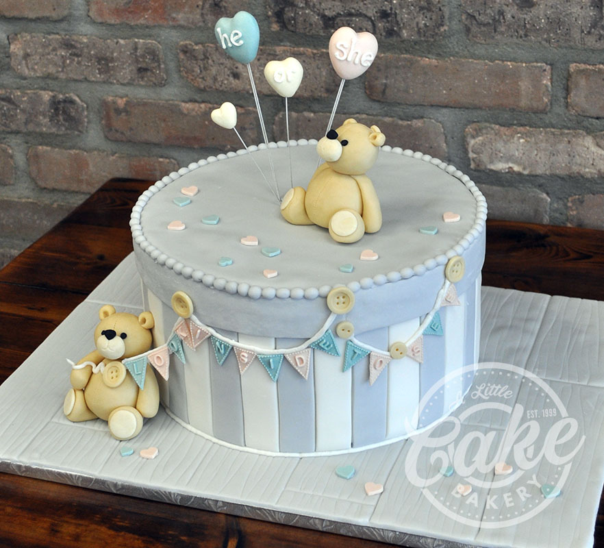 Teddy Bear Baby Shower Cake With Banner And Balloons A Little Cake