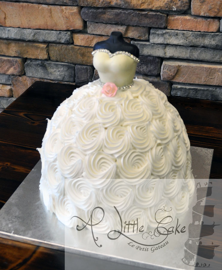 Wedding Gown Cakes: Wedding Dress Bridal Shower Cake With Flowers