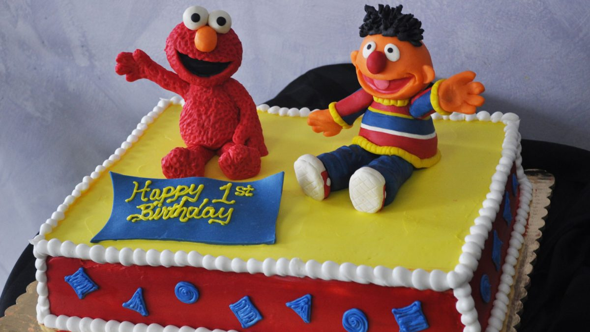 Enjoyable C01 Sesame Street First Birthday Sheet Cake Personalised Birthday Cards Veneteletsinfo