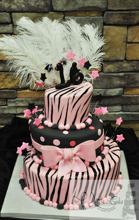 Sweet 16 Cakes Pink And Black Zebra Print With Feathers