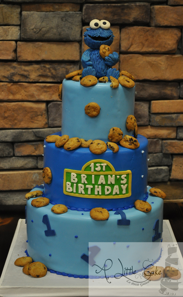 C161 First Birthday Cake With Cookies And Sesame Street Theme