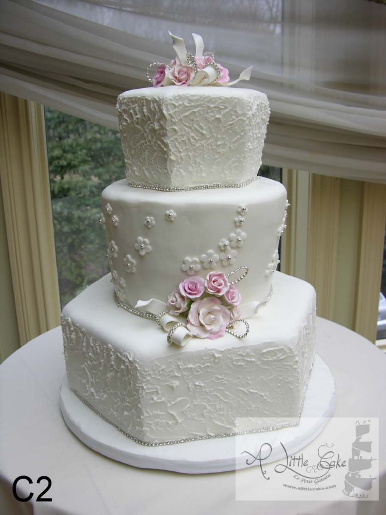 C2 Delicate Fondant Wedding Cake With Small Pink Flowers