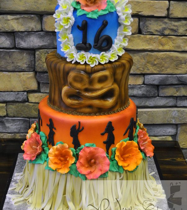 Enjoyable C35 Hawaii Custom Cake With Hula Skirt And Tropical Flowers Personalised Birthday Cards Epsylily Jamesorg