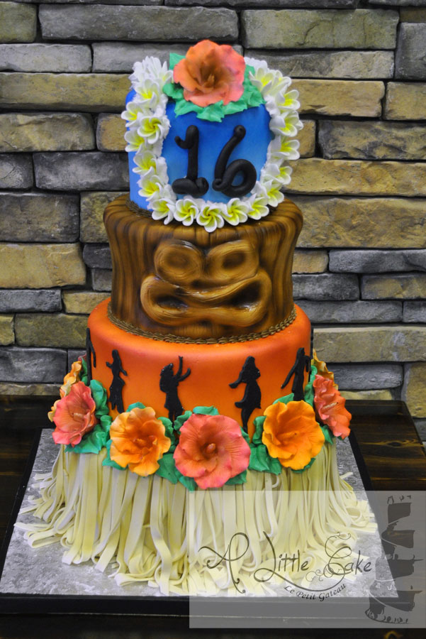 Sweet 16 Hawaiian Themed Birthday Cake A Little Cake