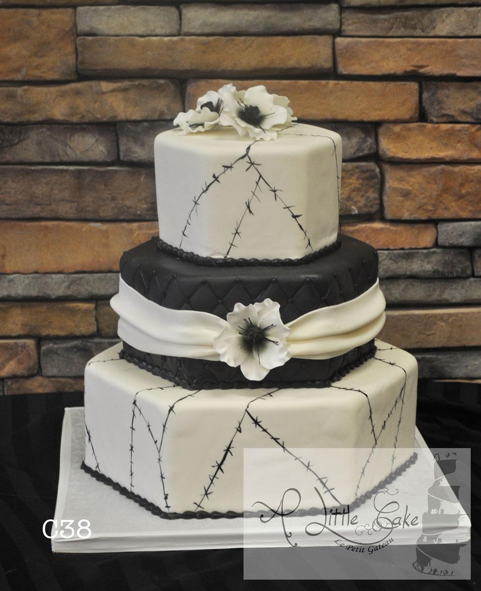 Fondant Flowers For Wedding Cakes: Six Sided Black And White Fondant Wedding Cake With