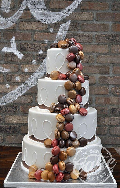 Cascading Macaroons Fondant Wedding Cake With Colorful Macaroon Design