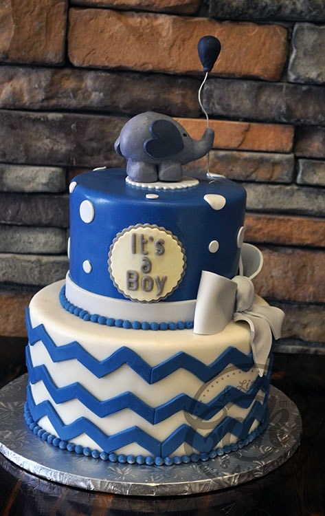Boy Baby Shower Cake With Elephant And Balloon