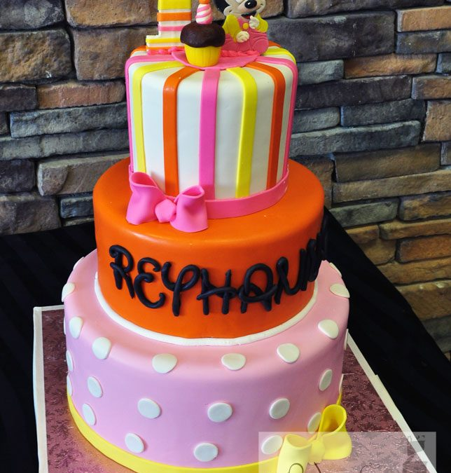 Strange 1St Birthday Minnie Mouse Tiered Cake A Little Cake Funny Birthday Cards Online Elaedamsfinfo