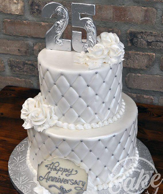Silver 25th Wedding Anniversary Cake Custom Cake With Elegant