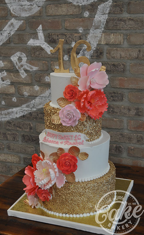 Sweet 16 Cake White And Gold With Red Pink Flowers