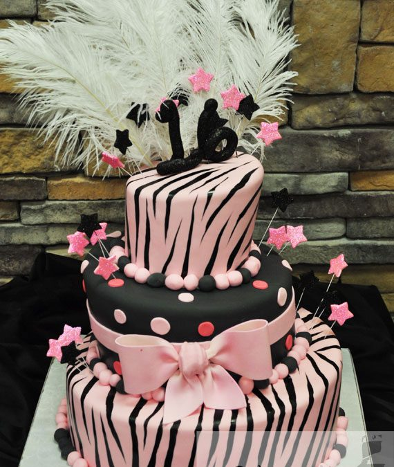 Remarkable Zebra Sweet Sixteen Birthday Cake A Little Cake Funny Birthday Cards Online Overcheapnameinfo