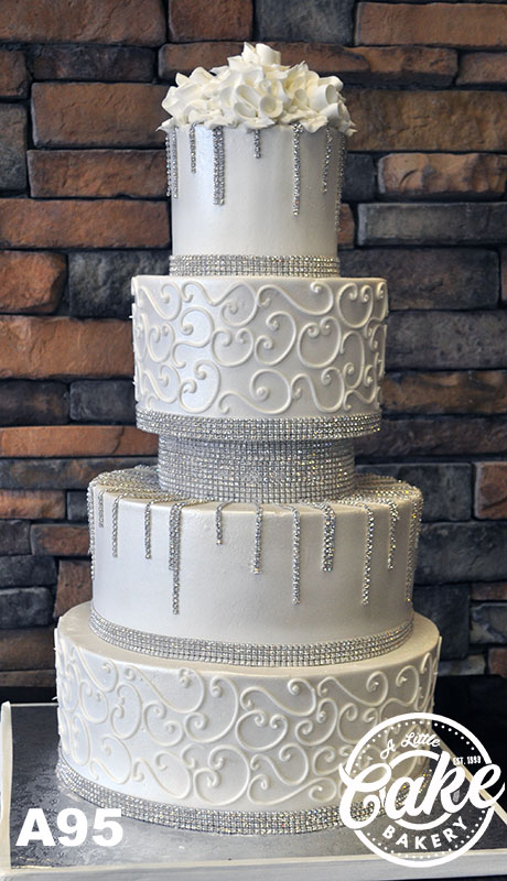 A95 White And Silver Buttercream Wedding Cake With