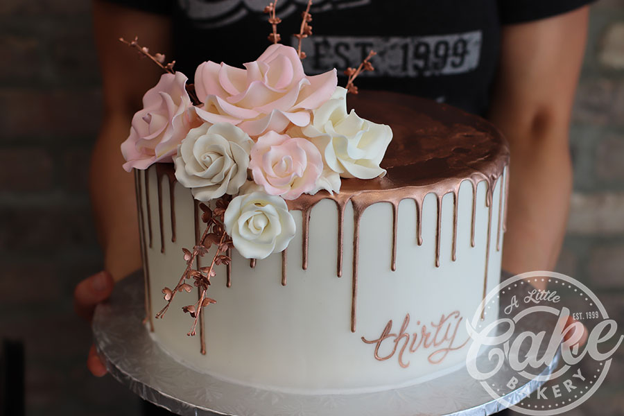 Rose Gold Drip Cake 30th Birthday With Pink And White Roses