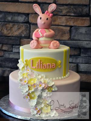 Tiered Bunny 1st Birthday Cake