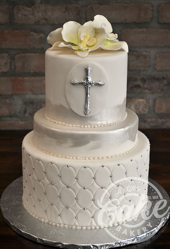 Three Tiered Fondant Communion Cake