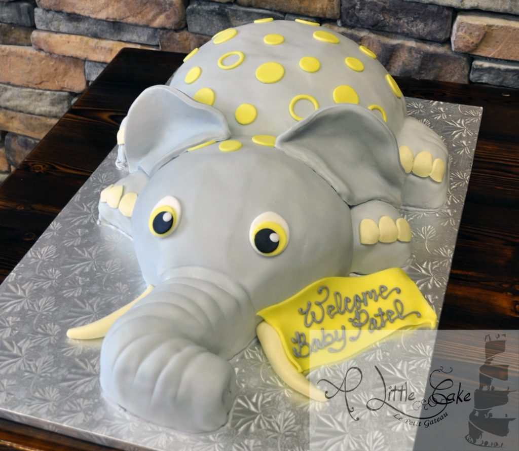 Yellow And Gray Elephant Baby Shower Cake