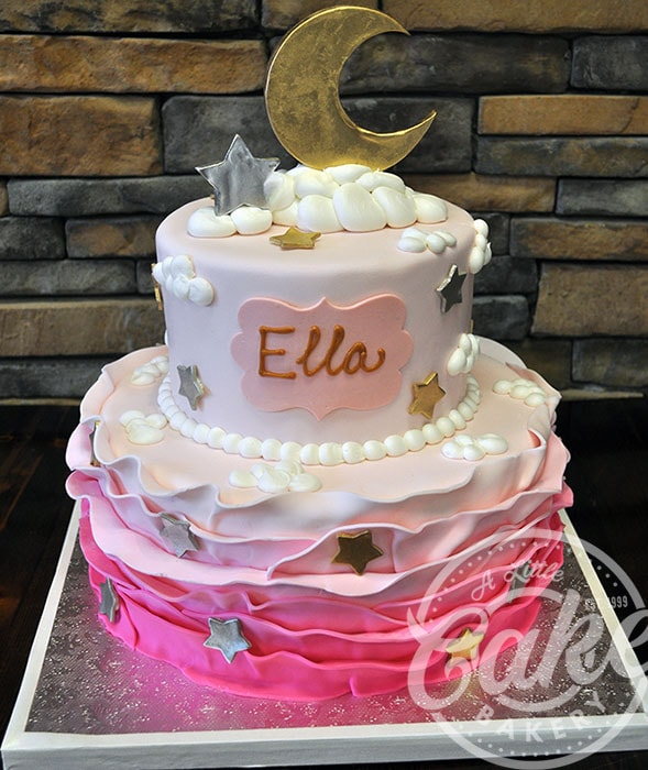 Pink Star And Moon Fondant Baby Shower Cake