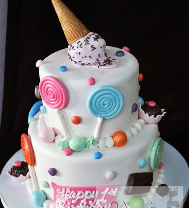 Incredible Candy Themed Birthday Cake A Little Cake Personalised Birthday Cards Beptaeletsinfo
