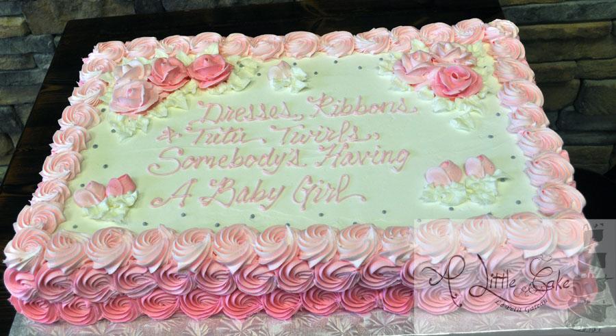 Pink Bridal Shower Sheet Cake