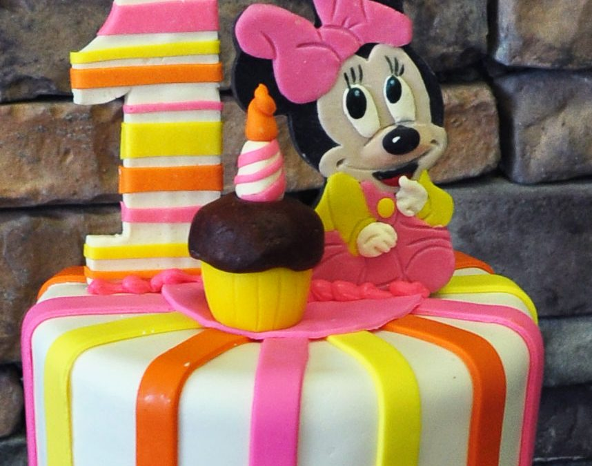 Outstanding Minnie Mouse 1St Birthday Striped Cake Personalised Birthday Cards Veneteletsinfo