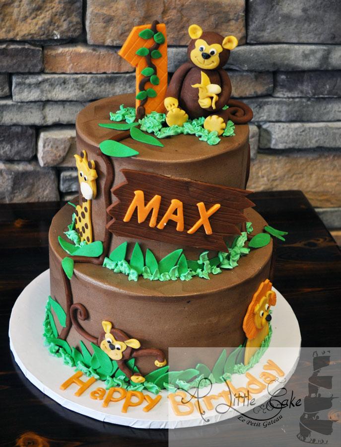Jungle Animals 1st Birthday Cake A Little Cake Custom Cakes