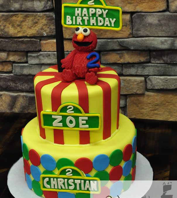 Swell 2 Tiered Elmo Birthday Cake For Twins A Little Cake Funny Birthday Cards Online Sheoxdamsfinfo