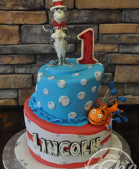 Marvelous Cat In The Hat Themed 1St Birthday Cake Personalised Birthday Cards Veneteletsinfo