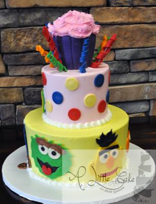 Marvelous Sesame Street Tiered Birthday Cake First Birthday Cake Personalised Birthday Cards Petedlily Jamesorg