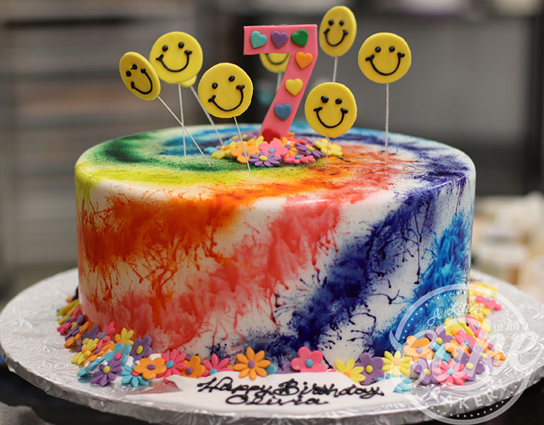 Pleasant Tie Dye Themed Birthday Cake Personalised Birthday Cards Paralily Jamesorg
