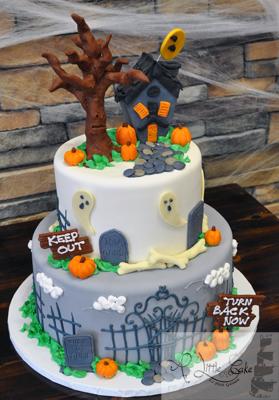 Pleasant Tiered Halloween Cake Funny Birthday Cards Online Fluifree Goldxyz