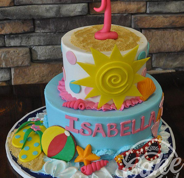 Prime Beach Themed First Birthday Cake Funny Birthday Cards Online Overcheapnameinfo