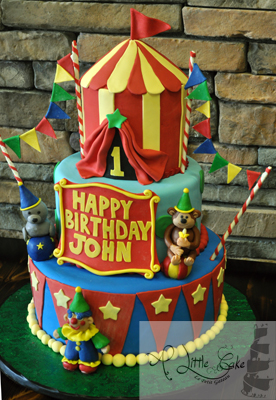 Superb 1St Birthday Circus Themed Cake Personalised Birthday Cards Veneteletsinfo