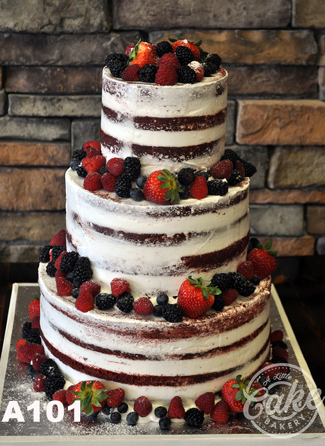 Naked Wedding Cake Decorated With Fresh Fruit-9880
