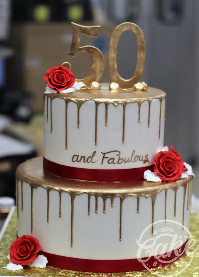 Stupendous 2 Tiered Gold Drip 50Th Birthday Cake Funny Birthday Cards Online Barepcheapnameinfo