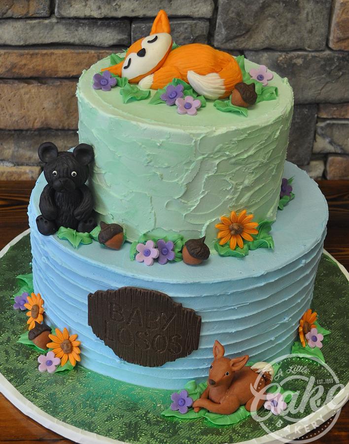 Baby Woodland Animal Themed Baby Shower Cake
