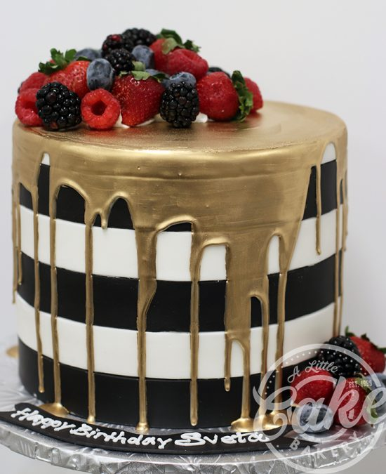 Black And White Birthday Cake With Gold Drip
