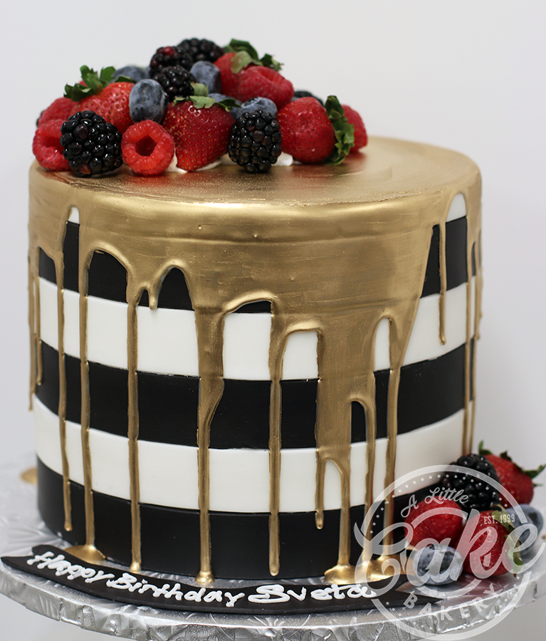 Outstanding Black And White Birthday Cake With Gold Drip Funny Birthday Cards Online Alyptdamsfinfo