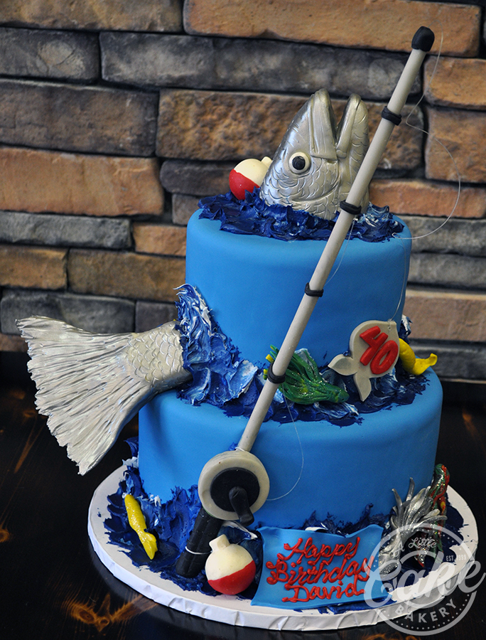 Stupendous Fish Themed Birthday Cake Iced With Fondant With A Sculpted 3D Fish Personalised Birthday Cards Veneteletsinfo