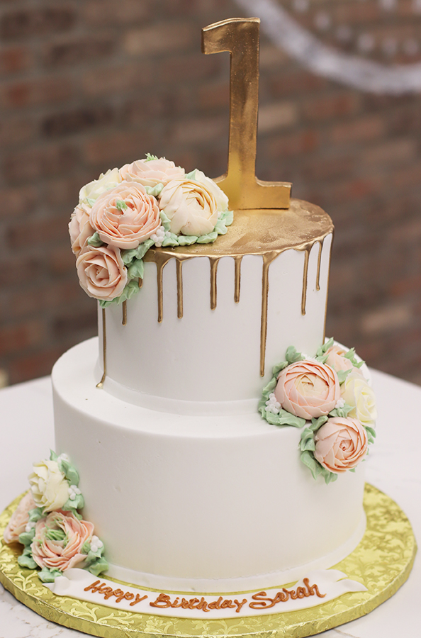 Pleasing First Birthday Cake With Gold Drip And Buttercream Flowers Funny Birthday Cards Online Hetedamsfinfo