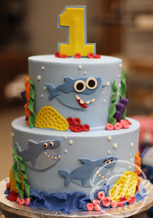 Amazing Baby Shark First Birthday Cake Personalised Birthday Cards Veneteletsinfo