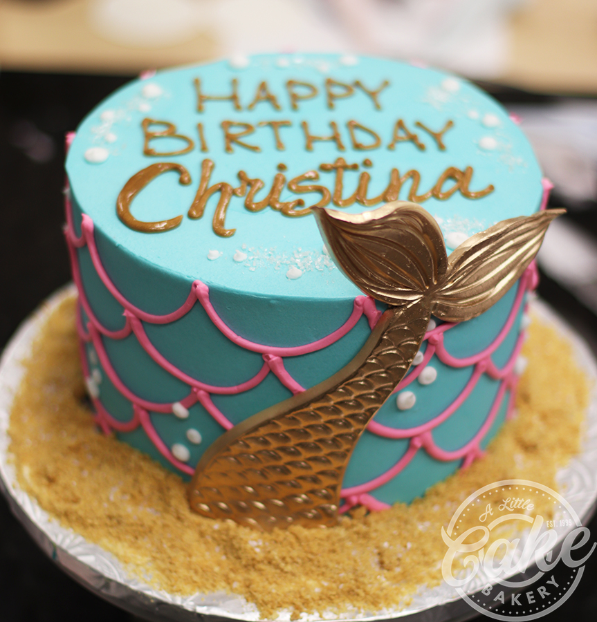 Pleasing Buttercream Iced Mermaid Birthday Cake Funny Birthday Cards Online Barepcheapnameinfo