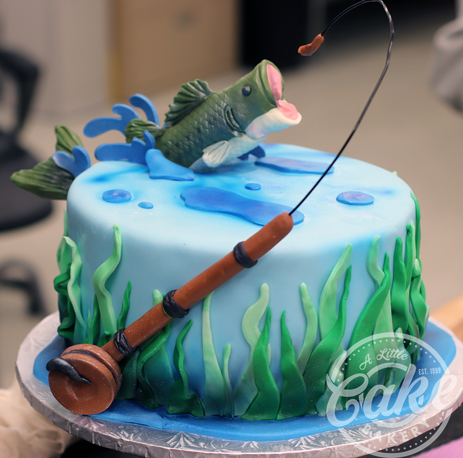 Surprising Fishing Themed Birthday Groomsmen Cake Fish Jumping Out Of Water Personalised Birthday Cards Epsylily Jamesorg