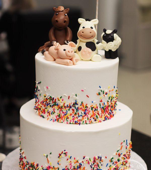 Baby Farm Animals Birthday Cake